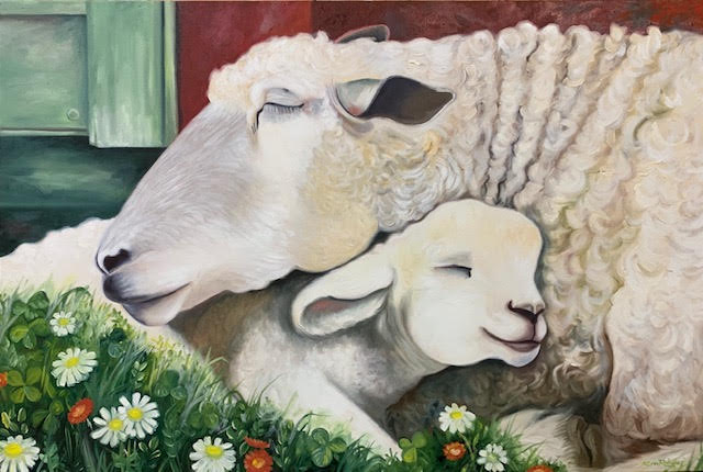 Mother and baby sheep - Oil on canvas